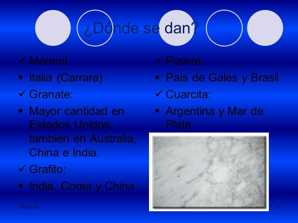 29/01/20144 CLASES FOLIADAS Los minerales se disponen de forma paralela. NO FOLIADAS Tienen estructura granular (formada por pequeños granos) Generalm
