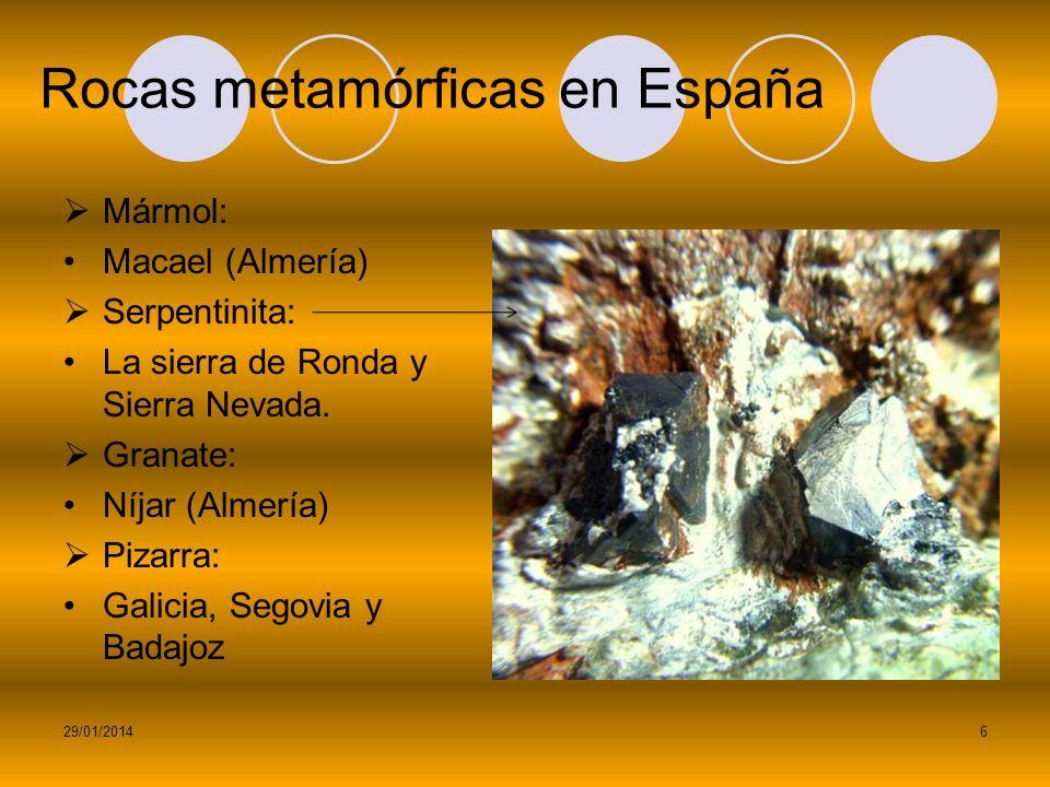 ¿Dónde se dan? Mármol: Italia (Carrara) Granate: Mayor cantidad en Estados Unidos, también en Australia, China e India. Grafito: India, Corea y China