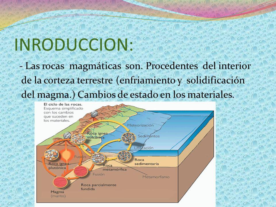 INRODUCCION: - Las rocas magmáticas son. Procedentes del interior de la corteza terrestre (enfriamiento y solidificación del magma.) Cambios de estado