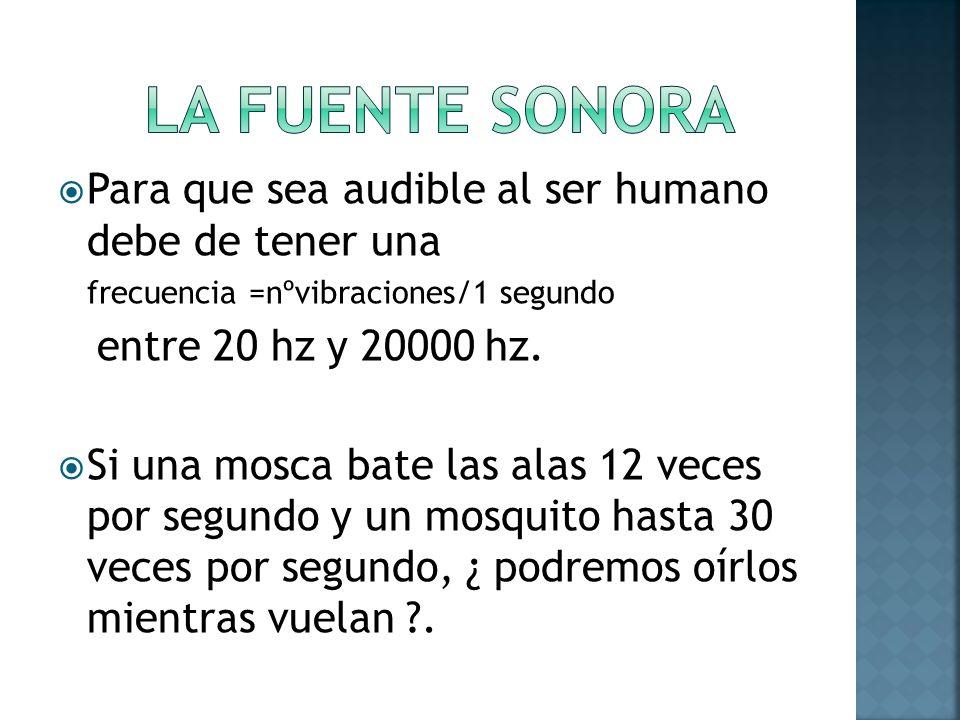 Para que sea audible al ser humano debe de tener una frecuencia =nºvibraciones/1 segundo entre 20 hz y 20000 hz. Si una mosca bate las alas 12 veces p