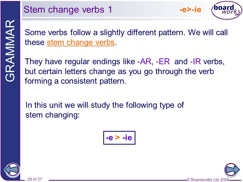 © Boardworks Ltd 2006 29 of 37 GRAMMAR -e>-ie In this unit we will study the following type of stem changing: Some verbs follow a slightly different p