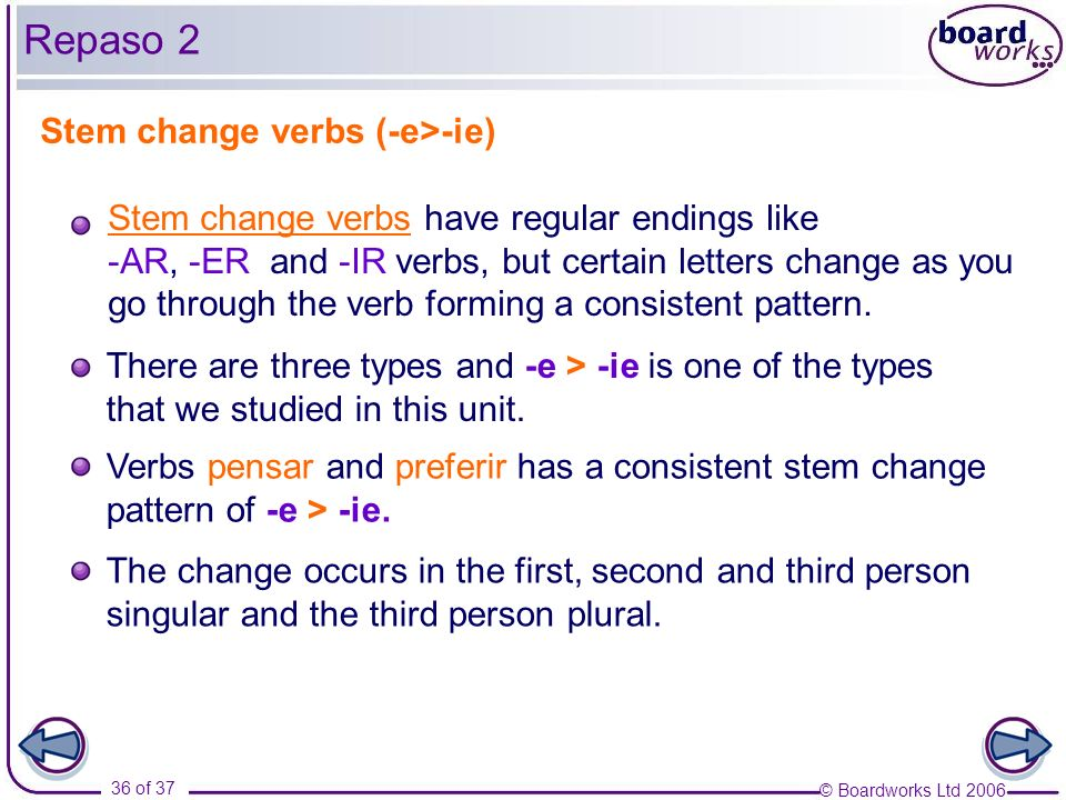 © Boardworks Ltd 2006 36 of 37 Stem change verbs (-e>-ie) There are three types and -e > -ie is one of the types that we studied in this unit. Stem ch