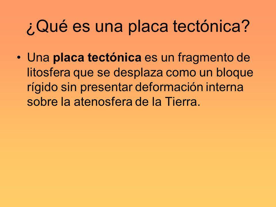 ¿Qué es una placa tectónica? Una placa tectónica es un fragmento de litosfera que se desplaza como un bloque rígido sin presentar deformación interna