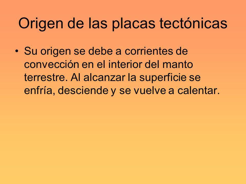 Origen de las placas tectónicas Su origen se debe a corrientes de convección en el interior del manto terrestre. Al alcanzar la superficie se enfría,