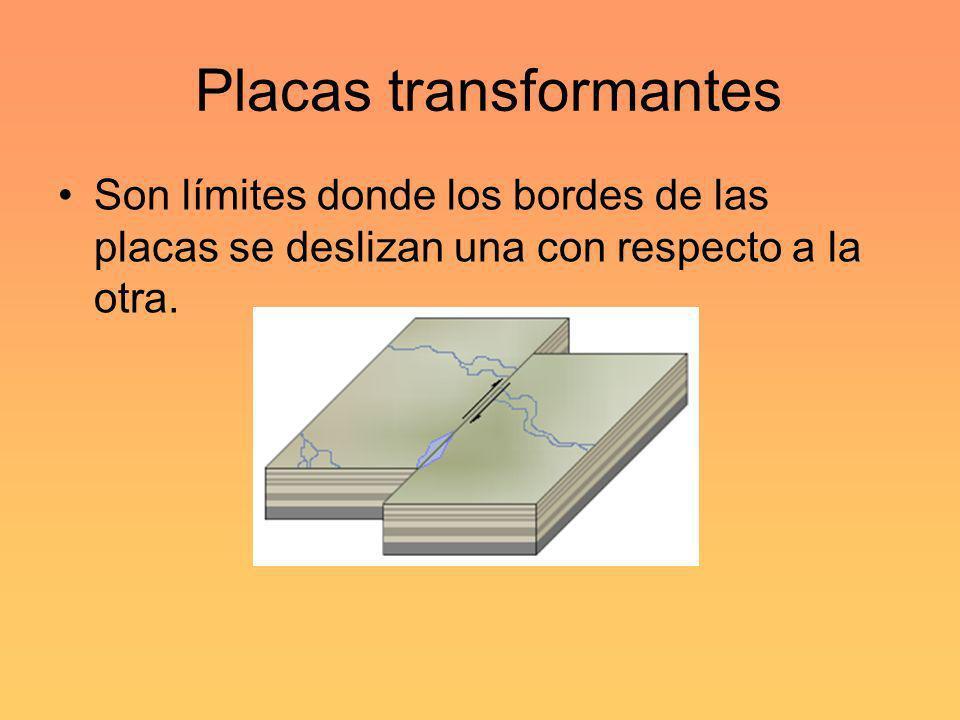 Placas transformantes Son límites donde los bordes de las placas se deslizan una con respecto a la otra.