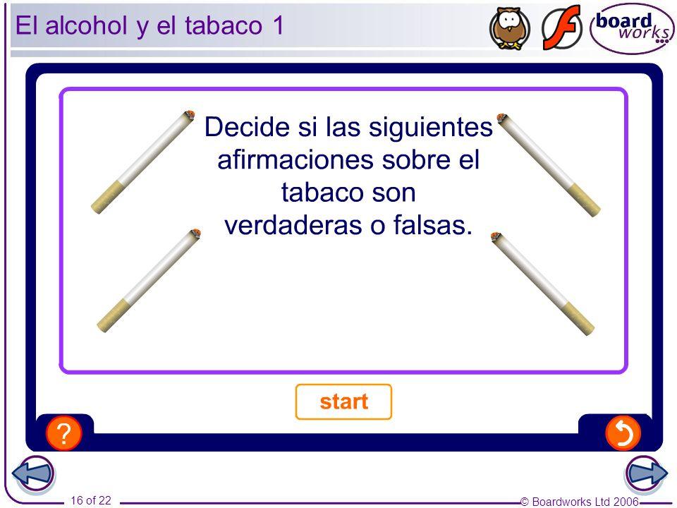 © Boardworks Ltd 2006 16 of 22 El alcohol y el tabaco 1