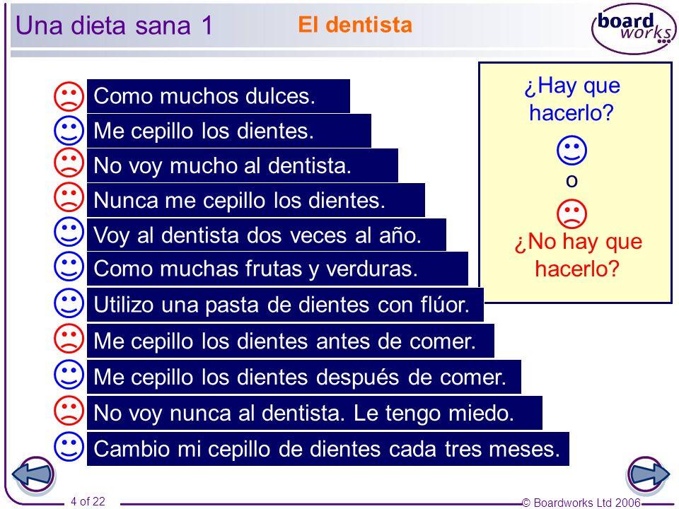 © Boardworks Ltd 2006 15 of 22 La salud Part 2 Una dieta sana Mantenerse en forma La drogodependencia El alcohol y el tabaco
