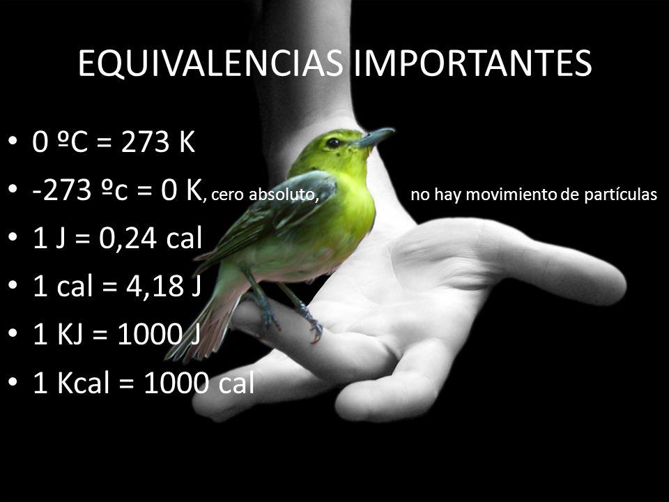 EQUIVALENCIAS IMPORTANTES 0 ºC = 273 K -273 ºc = 0 K, cero absoluto, no hay movimiento de partículas 1 J = 0,24 cal 1 cal = 4,18 J 1 KJ = 1000 J 1 Kca