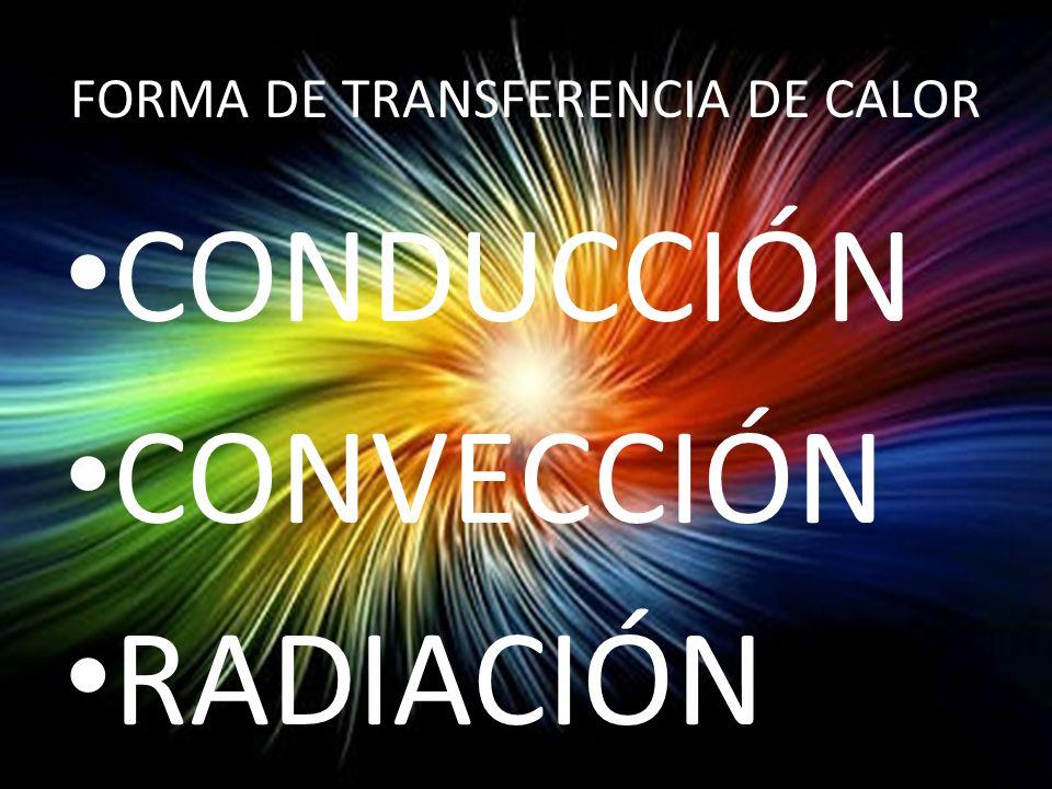 FORMA DE TRANSFERENCIA DE CALOR CONDUCCIÓN CONVECCIÓN RADIACIÓN