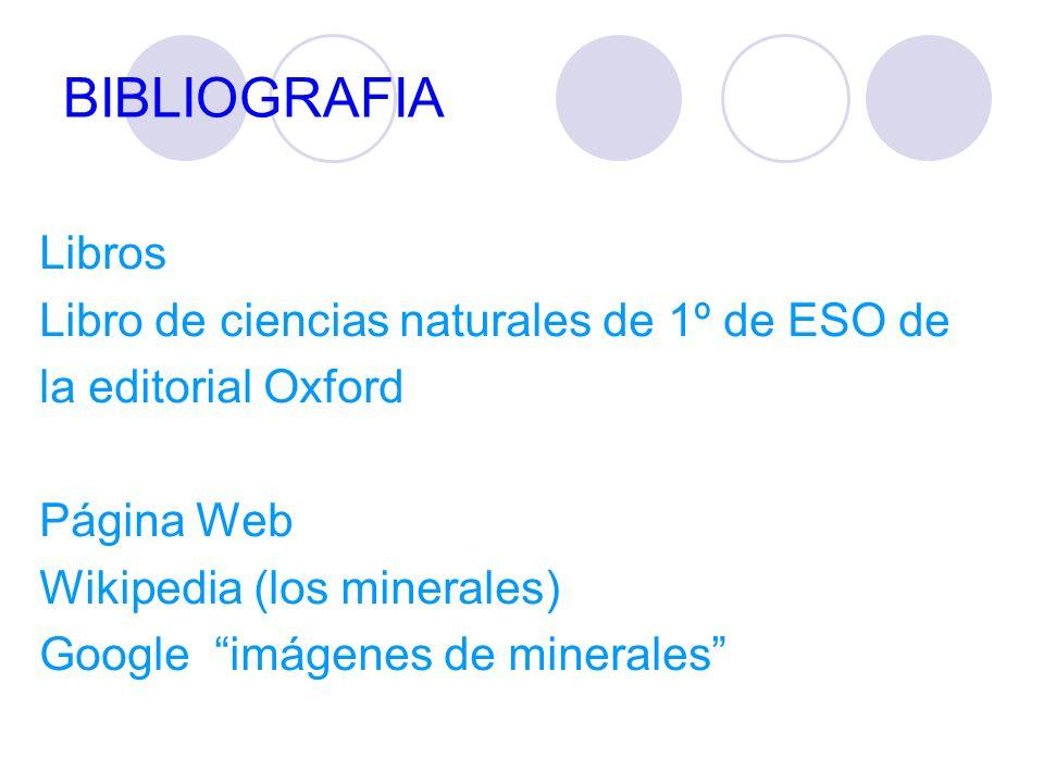 BIBLIOGRAFIA Libros Libro de ciencias naturales de 1º de ESO de la editorial Oxford Página Web Wikipedia (los minerales) Google imágenes de minerales