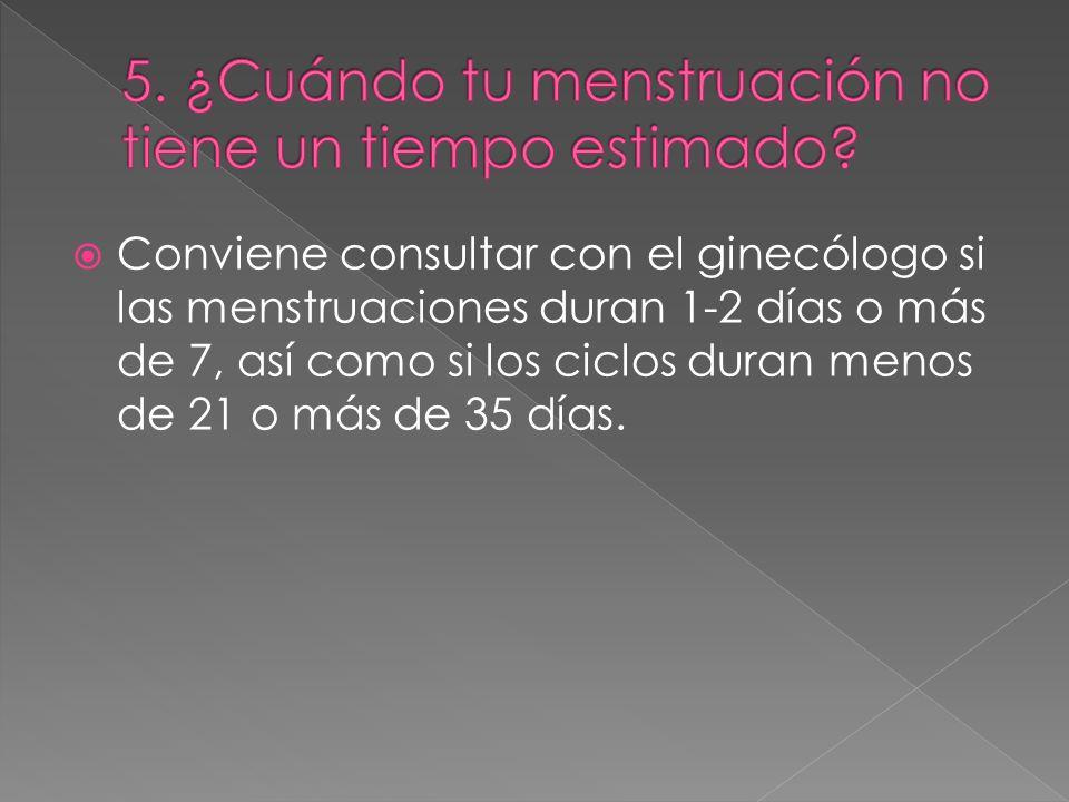Conviene consultar con el ginecólogo si las menstruaciones duran 1-2 días o más de 7, así como si los ciclos duran menos de 21 o más de 35 días.