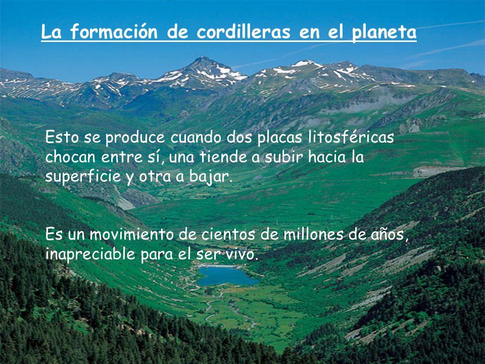 La formación de cordilleras en el planeta Esto se produce cuando dos placas litosféricas chocan entre sí, una tiende a subir hacia la superficie y otr