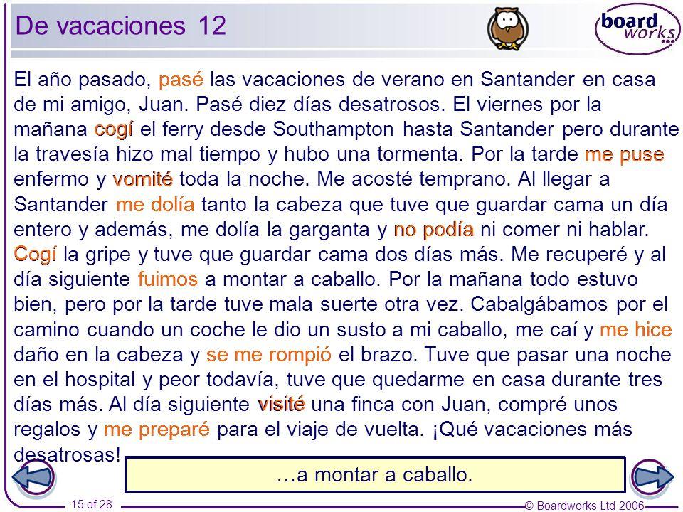 © Boardworks Ltd 2006 15 of 28 El año pasado, pasé las vacaciones de verano en Santander en casa de mi amigo, Juan. Pasé diez días desatrosos. El vier
