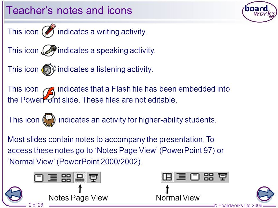 © Boardworks Ltd 2006 2 of 28 Most slides contain notes to accompany the presentation. To access these notes go to Notes Page View (PowerPoint 97) or