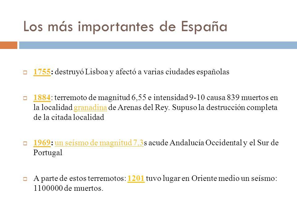 Los más importantes de España 1755: destruyó Lisboa y afectó a varias ciudades españolas 1755 1884: terremoto de magnitud 6,55 e intensidad 9-10 causa