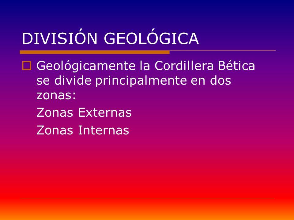 DIVISIÓN GEOLÓGICA Geológicamente la Cordillera Bética se divide principalmente en dos zonas: Zonas Externas Zonas Internas