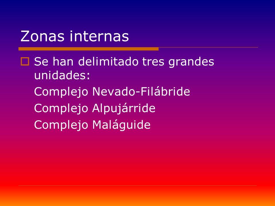 Zonas internas Se han delimitado tres grandes unidades: Complejo Nevado-Filábride Complejo Alpujárride Complejo Maláguide