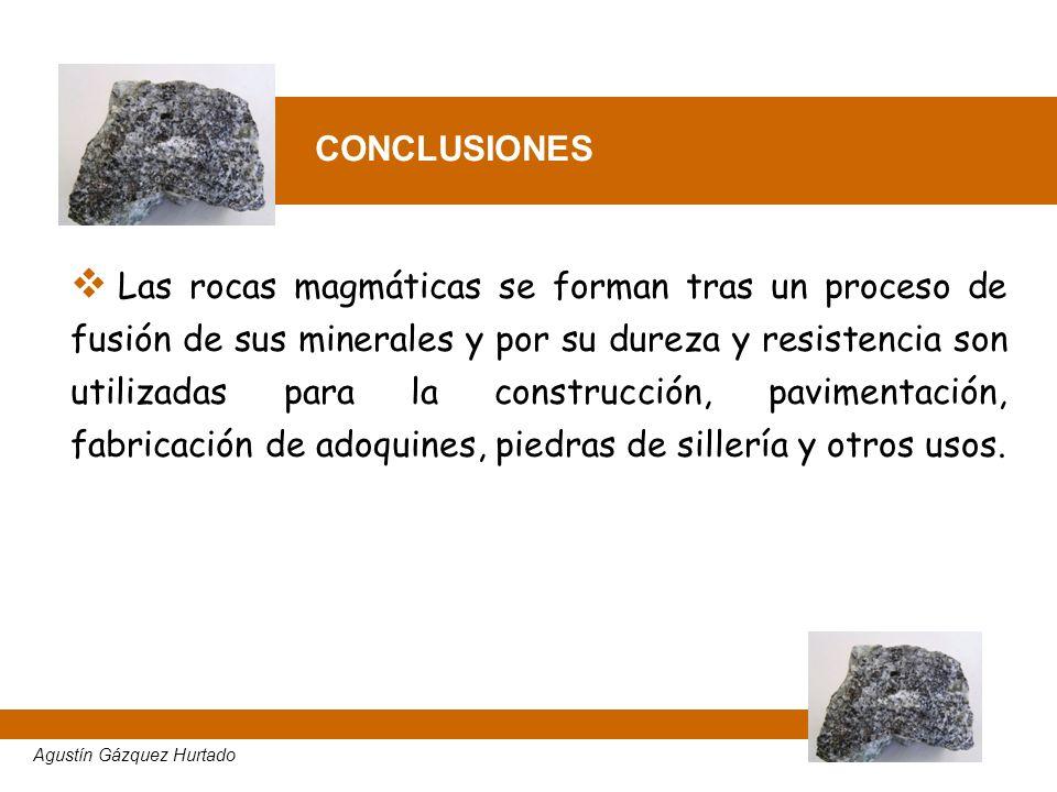 CONCLUSIONES Las rocas magmáticas se forman tras un proceso de fusión de sus minerales y por su dureza y resistencia son utilizadas para la construcci