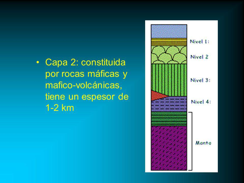 Capa 2: constituida por rocas máficas y mafico-volcánicas, tiene un espesor de 1-2 km