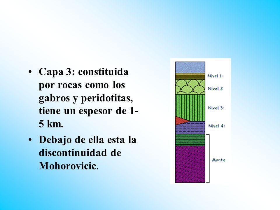 Capa 3: constituida por rocas como los gabros y peridotitas, tiene un espesor de 1- 5 km. Debajo de ella esta la discontinuidad de Mohorovicic.