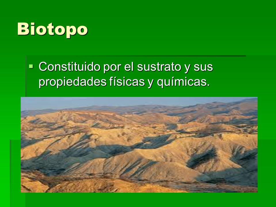 Biotopo Constituido por el sustrato y sus propiedades físicas y químicas. Constituido por el sustrato y sus propiedades físicas y químicas.