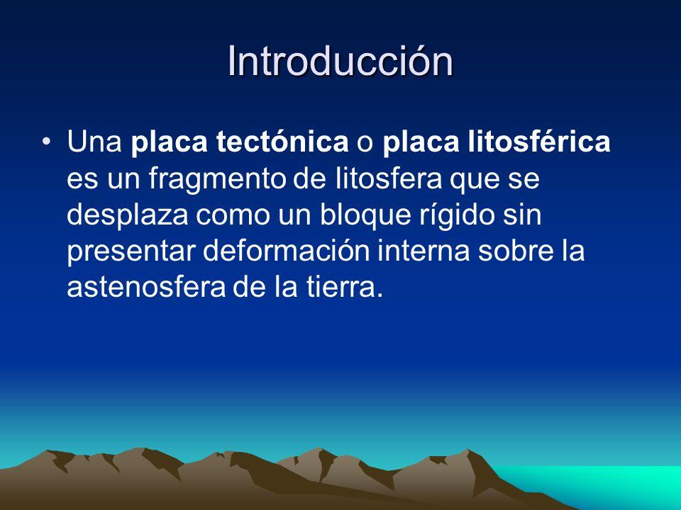 Introducción Una placa tectónica o placa litosférica es un fragmento de litosfera que se desplaza como un bloque rígido sin presentar deformación inte