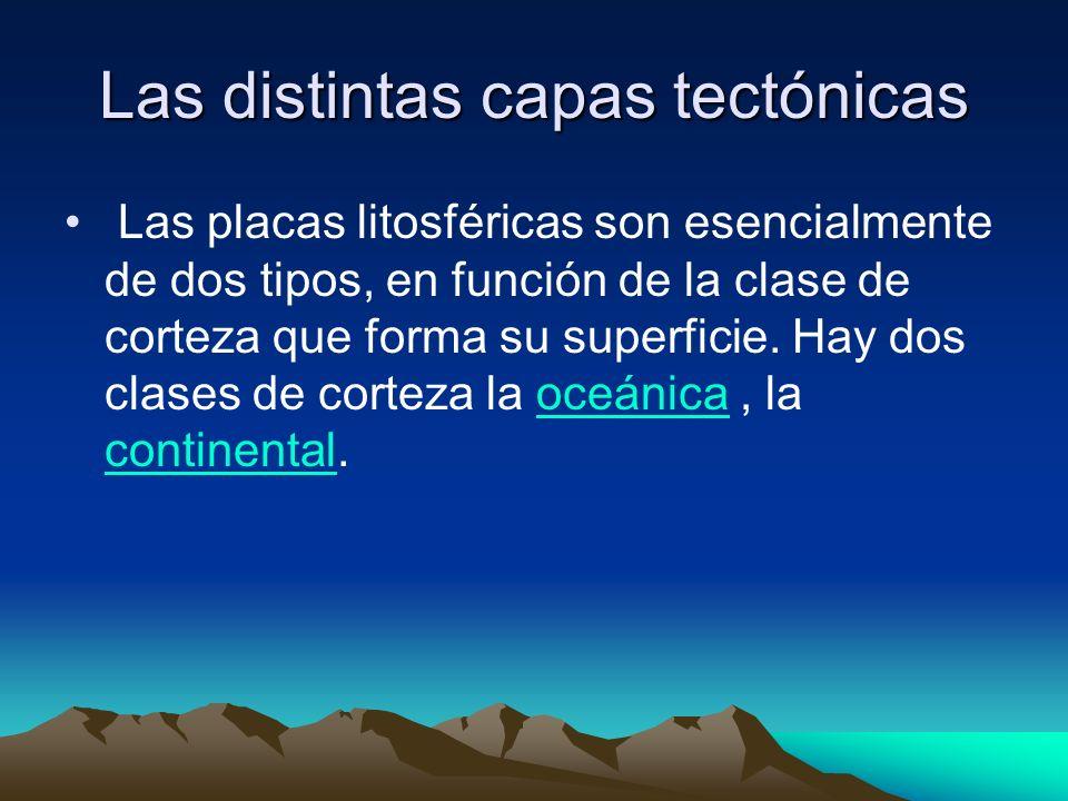 Las distintas capas tectónicas Las placas litosféricas son esencialmente de dos tipos, en función de la clase de corteza que forma su superficie. Hay