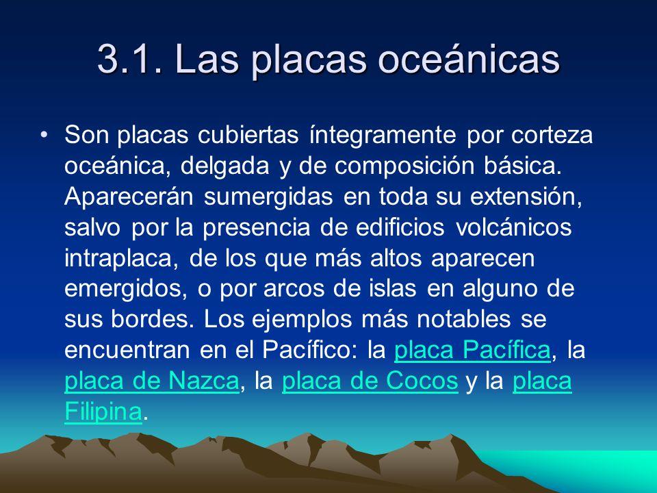 3.1. Las placas oceánicas Son placas cubiertas íntegramente por corteza oceánica, delgada y de composición básica. Aparecerán sumergidas en toda su ex