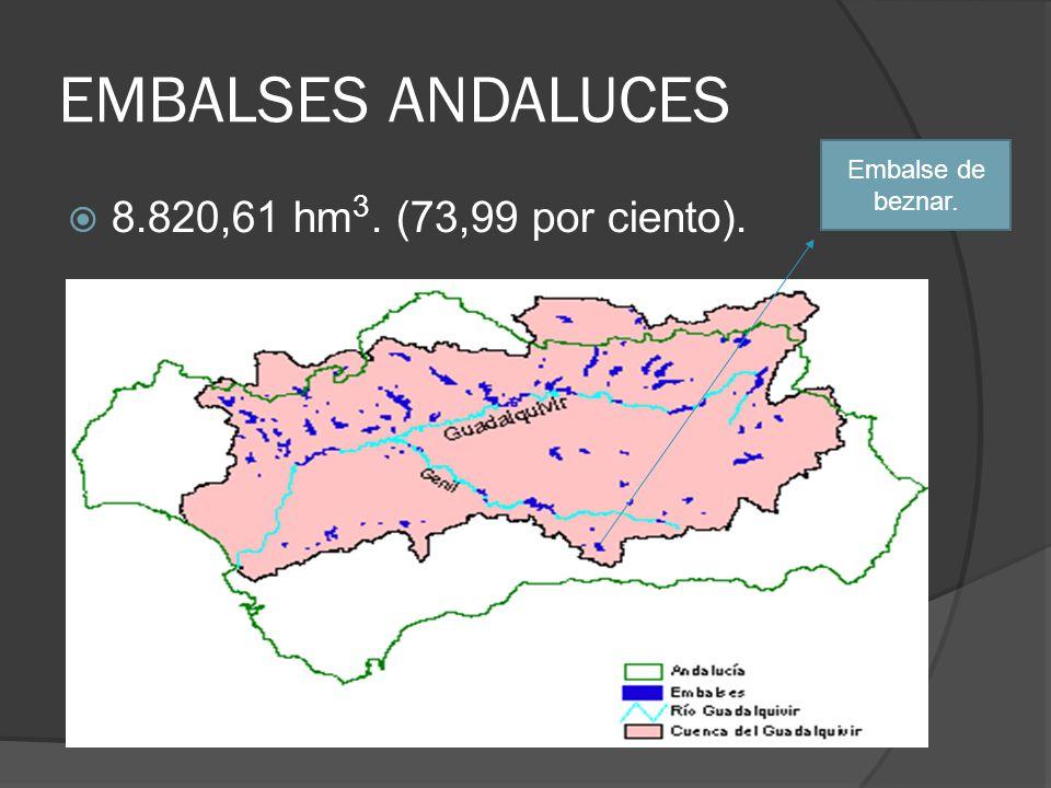 EMBALSES ANDALUCES 8.820,61 hm 3. (73,99 por ciento). Embalse de beznar.