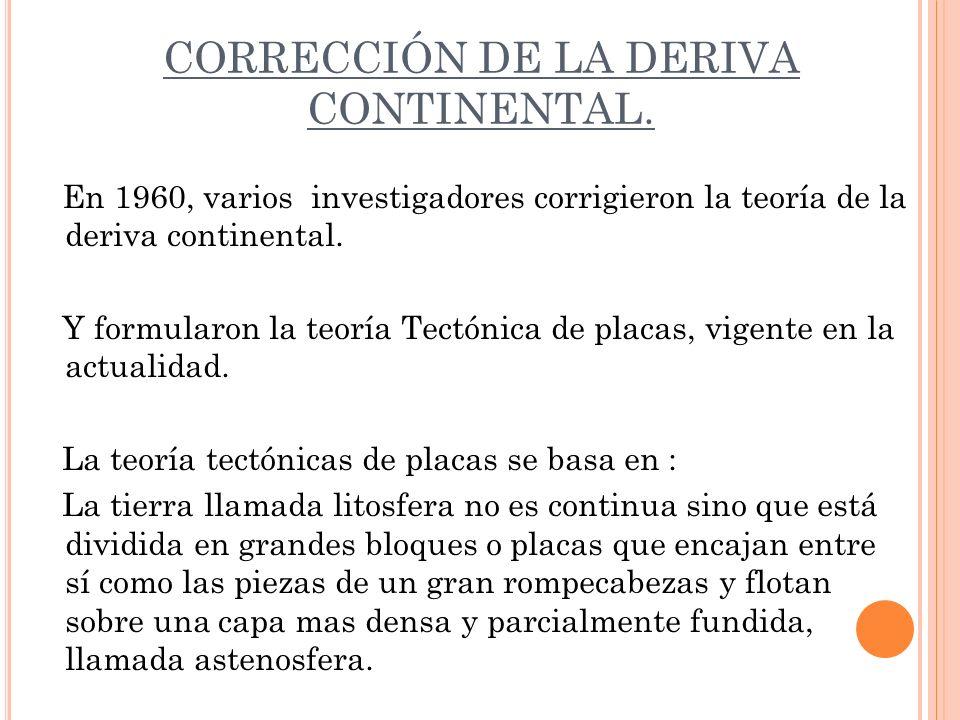 CORRECCIÓN DE LA DERIVA CONTINENTAL. En 1960, varios investigadores corrigieron la teoría de la deriva continental. Y formularon la teoría Tectónica d