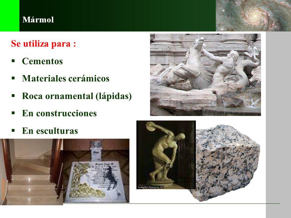 4. Gneiss EJEMPLOS 3. Esquisto 2. Pizarra 1. Mármol 5. Piedras verdes