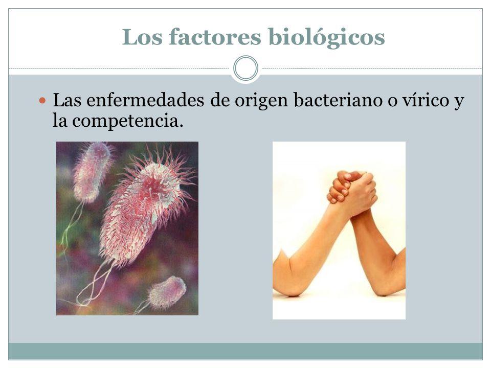 Los factores biológicos Las enfermedades de origen bacteriano o vírico y la competencia.