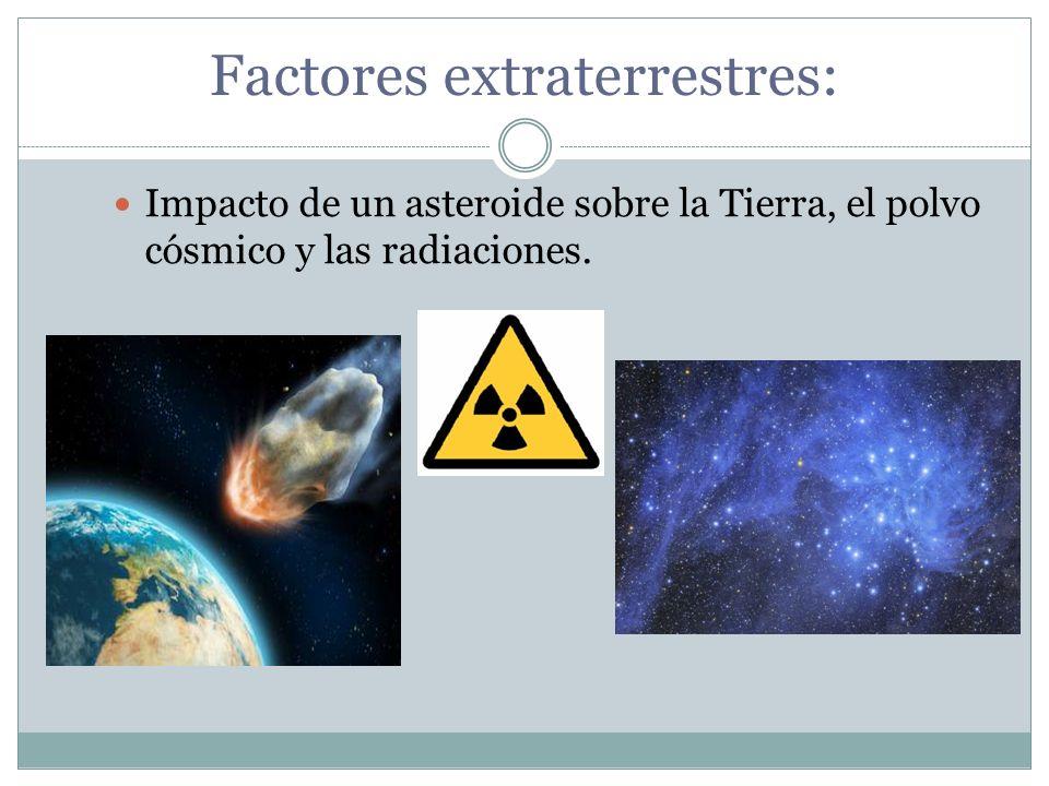 Factores extraterrestres: Impacto de un asteroide sobre la Tierra, el polvo cósmico y las radiaciones.