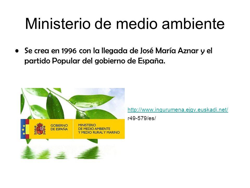 Ministerio de medio ambiente Se crea en 1996 con la llegada de José María Aznar y el partido Popular del gobierno de España. http://www.ingurumena.ejg