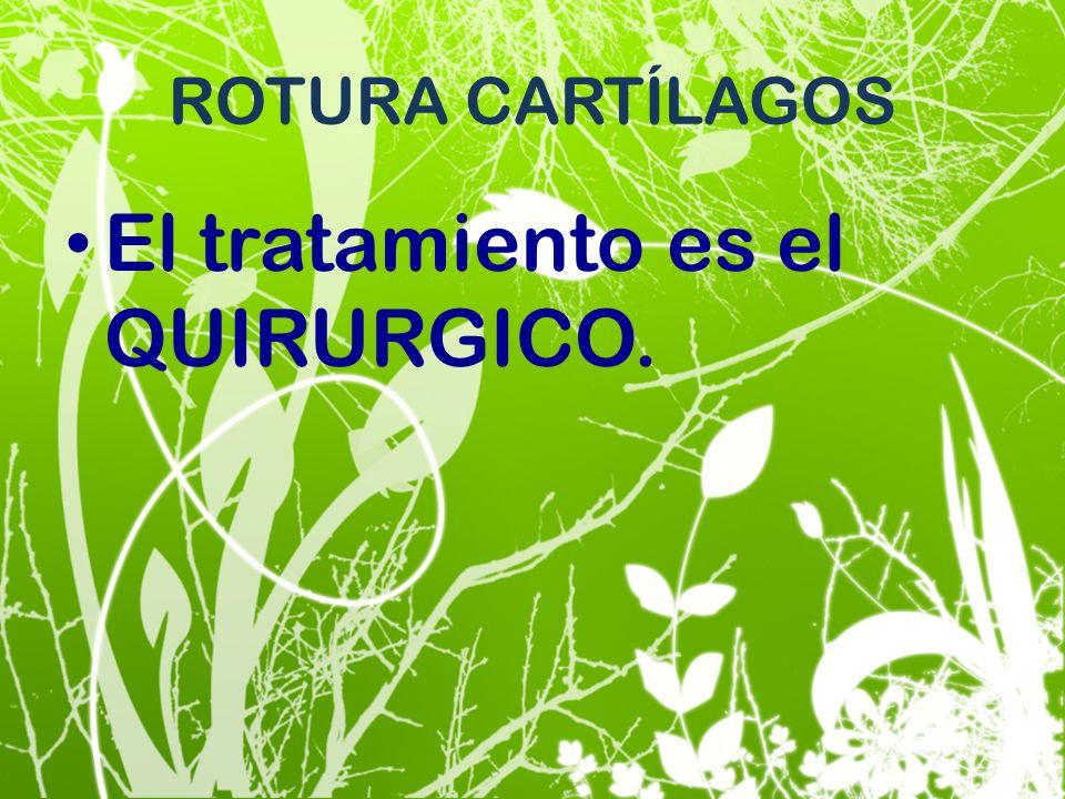 ROTURA CARTÍLAGOS El tratamiento es el QUIRURGICO.