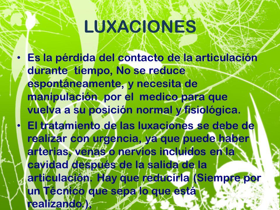 LUXACIONES Es la pérdida del contacto de la articulación durante tiempo, No se reduce espontáneamente, y necesita de manipulación por el medico para q