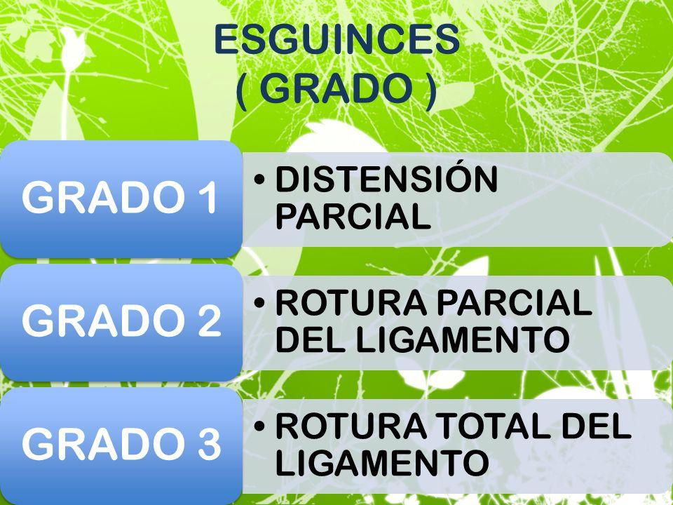 ESGUINCES ( GRADO ) DISTENSIÓN PARCIAL GRADO 1 ROTURA PARCIAL DEL LIGAMENTO GRADO 2 ROTURA TOTAL DEL LIGAMENTO GRADO 3