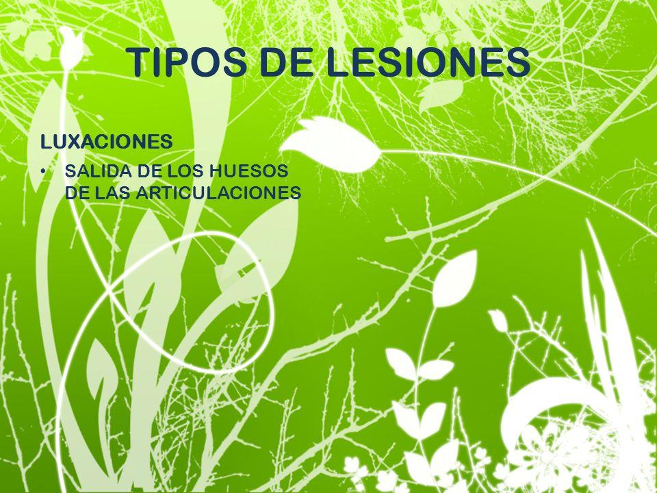 TIPOS DE LESIONES LUXACIONES SALIDA DE LOS HUESOS DE LAS ARTICULACIONES