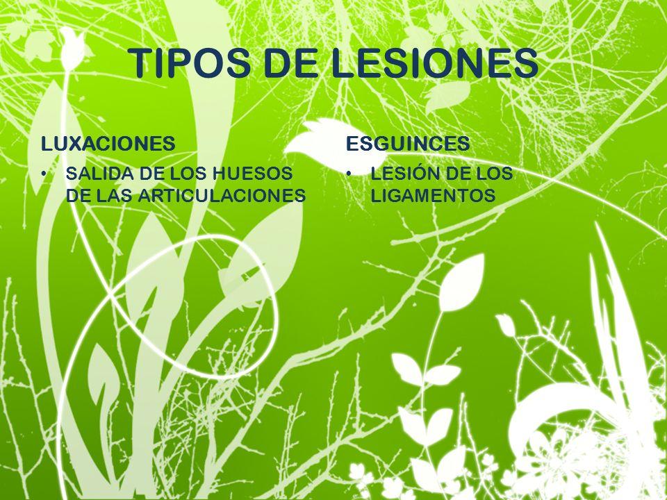 TIPOS DE LESIONES LUXACIONES SALIDA DE LOS HUESOS DE LAS ARTICULACIONES ESGUINCES LESIÓN DE LOS LIGAMENTOS