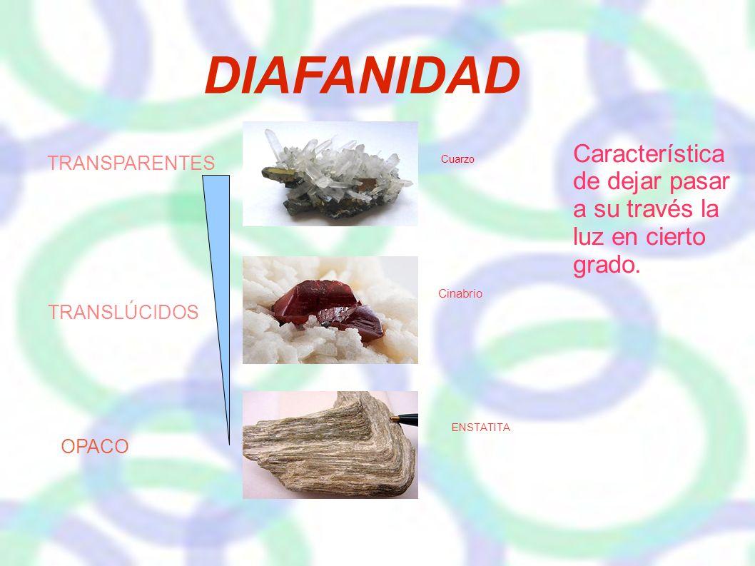 DIAFANIDAD TRANSPARENTES TRANSLÚCIDOS Cuarzo Cinabrio OPACO ENSTATITA Característica de dejar pasar a su través la luz en cierto grado.
