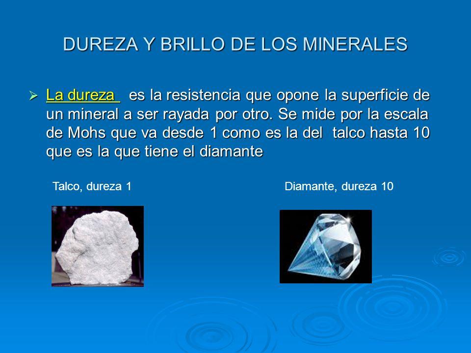DUREZA Y BRILLO DE LOS MINERALES El brillo es el aspecto que presenta la superficie de un mineral cuando la luz se refleja en ella.