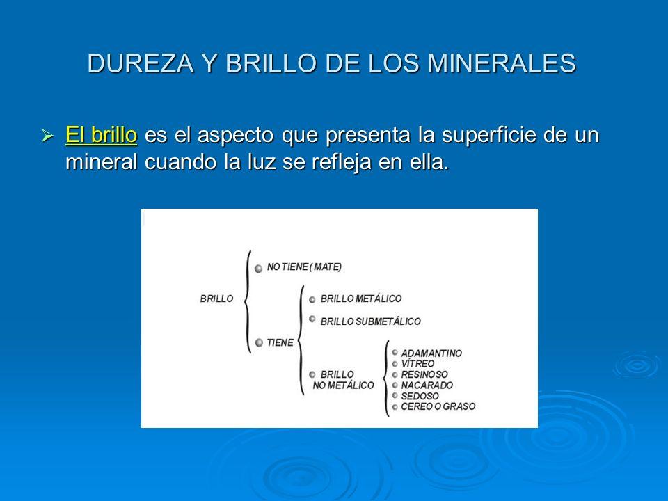 DUREZA Y BRILLO DE LOS MINERALES El brillo es el aspecto que presenta la superficie de un mineral cuando la luz se refleja en ella. El brillo es el as