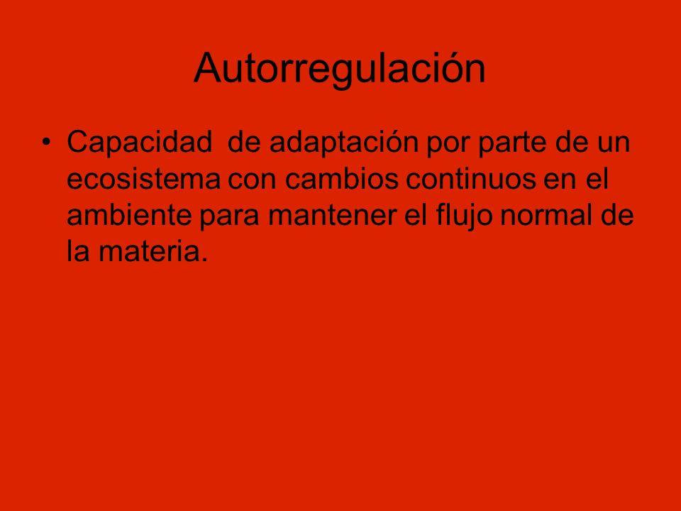Autorregulación Capacidad de adaptación por parte de un ecosistema con cambios continuos en el ambiente para mantener el flujo normal de la materia.