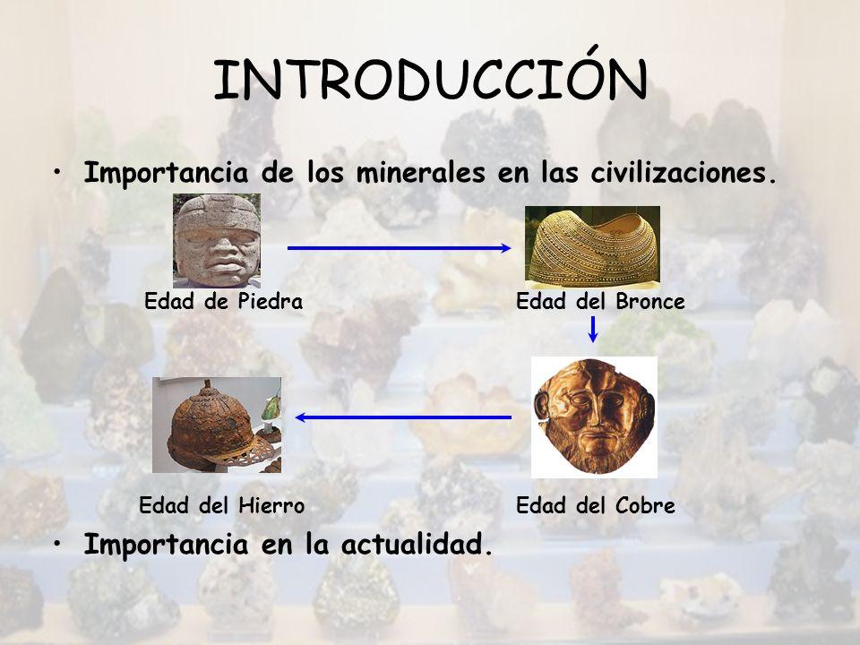INTRODUCCIÓN Importancia de los minerales en las civilizaciones. Edad de Piedra Edad del Bronce Edad del Hierro Edad del Cobre Importancia en la actua