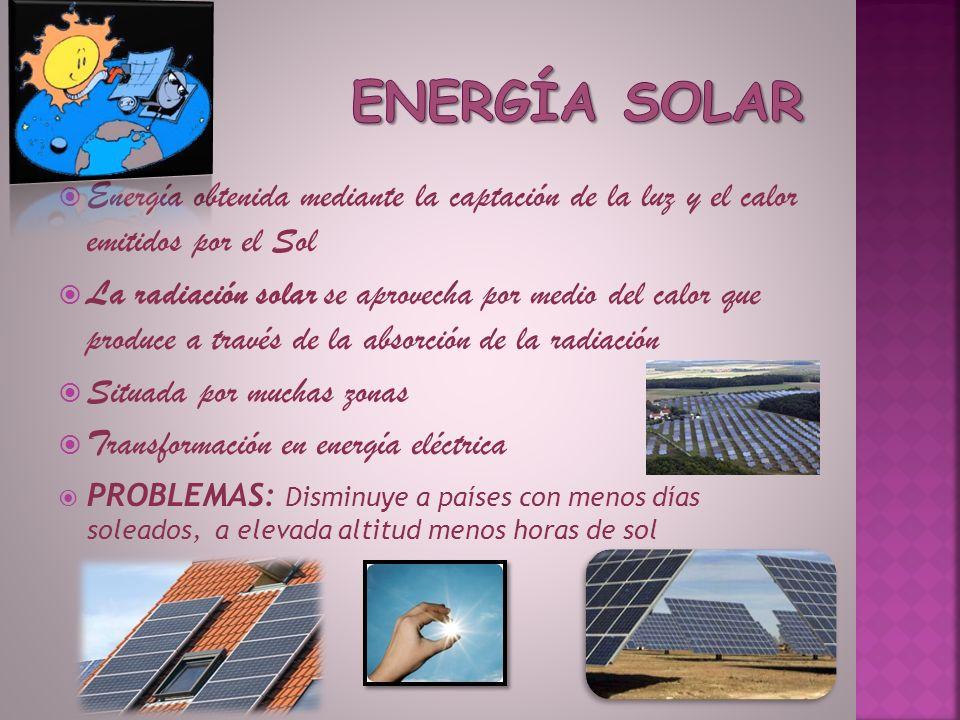 Energía obtenida mediante la captación de la luz y el calor emitidos por el Sol La radiación solar se aprovecha por medio del calor que produce a trav