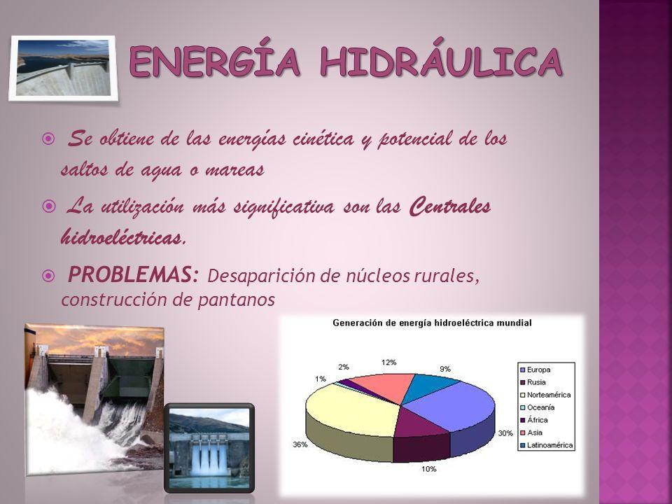Se obtiene de las energías cinética y potencial de los saltos de agua o mareas La utilización más significativa son las Centrales hidroeléctricas. PRO