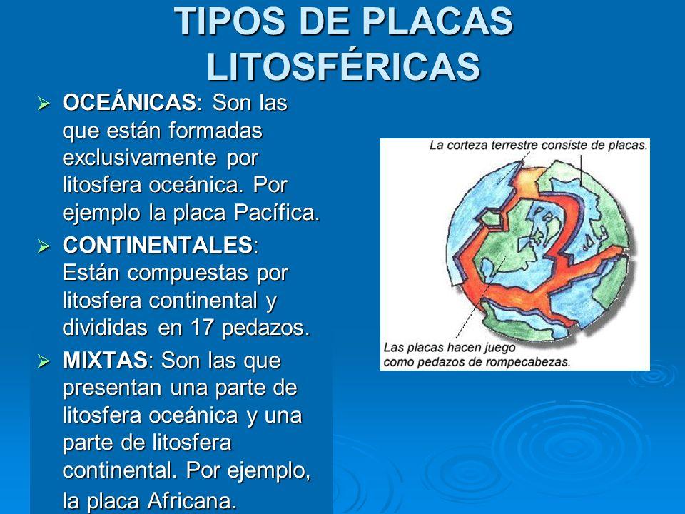 TIPOS DE PLACAS LITOSFÉRICAS OCEÁNICAS: Son las que están formadas exclusivamente por litosfera oceánica. Por ejemplo la placa Pacífica. OCEÁNICAS: So