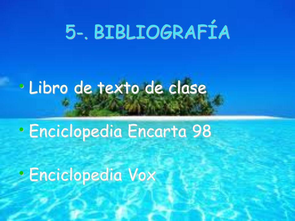 5-. BIBLIOGRAFÍA Libro de texto de clase Libro de texto de clase Enciclopedia Encarta 98 Enciclopedia Encarta 98 Enciclopedia Vox Enciclopedia Vox