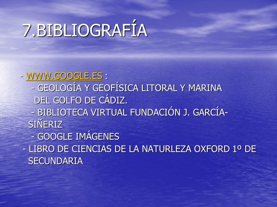 7.BIBLIOGRAFÍA 7.BIBLIOGRAFÍA - WWW.GOOGLE.ES : - WWW.GOOGLE.ES :WWW.GOOGLE.ES - GEOLOGÍA Y GEOFÍSICA LITORAL Y MARINA - GEOLOGÍA Y GEOFÍSICA LITORAL