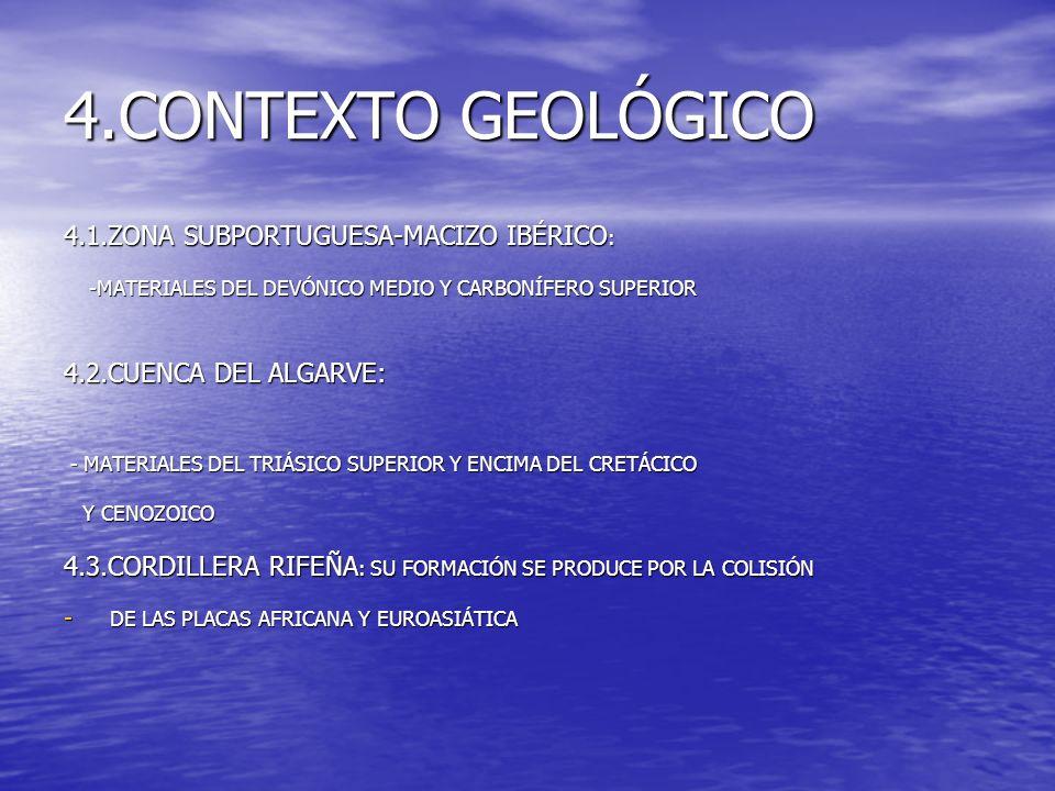 4.CONTEXTO GEOLÓGICO 4.1.ZONA SUBPORTUGUESA-MACIZO IBÉRICO : -MATERIALES DEL DEVÓNICO MEDIO Y CARBONÍFERO SUPERIOR -MATERIALES DEL DEVÓNICO MEDIO Y CA